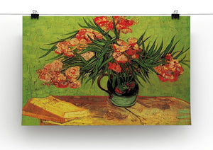 Still Life Vase with Oleanders and Books by Van Gogh Canvas Print & Poster - Canvas Art Rocks - 2