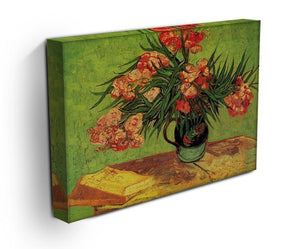 Still Life Vase with Oleanders and Books by Van Gogh Canvas Print & Poster - Canvas Art Rocks - 3