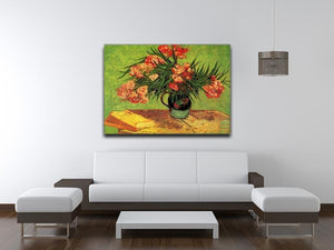 Still Life Vase with Oleanders and Books by Van Gogh Canvas Print & Poster - Canvas Art Rocks - 4