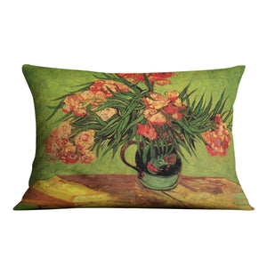Still Life Vase with Oleanders and Books by Van Gogh Throw Pillow