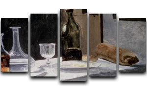 Still Life With Bottles by Monet 5 Split Panel Canvas  - Canvas Art Rocks - 1