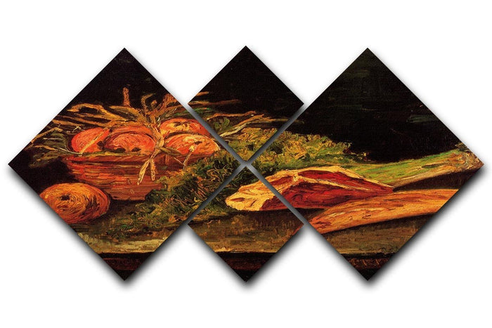 Still Life with Apples Meat and a Roll by Van Gogh 4 Square Multi Panel Canvas