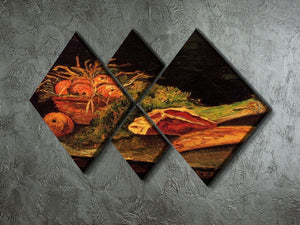 Still Life with Apples Meat and a Roll by Van Gogh 4 Square Multi Panel Canvas - Canvas Art Rocks - 2