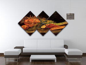 Still Life with Apples Meat and a Roll by Van Gogh 4 Square Multi Panel Canvas - Canvas Art Rocks - 3