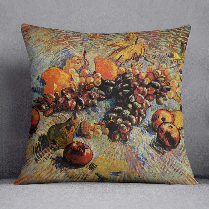 Still Life with Apples Pears Lemons and Grapes by Van Gogh Throw Pillow