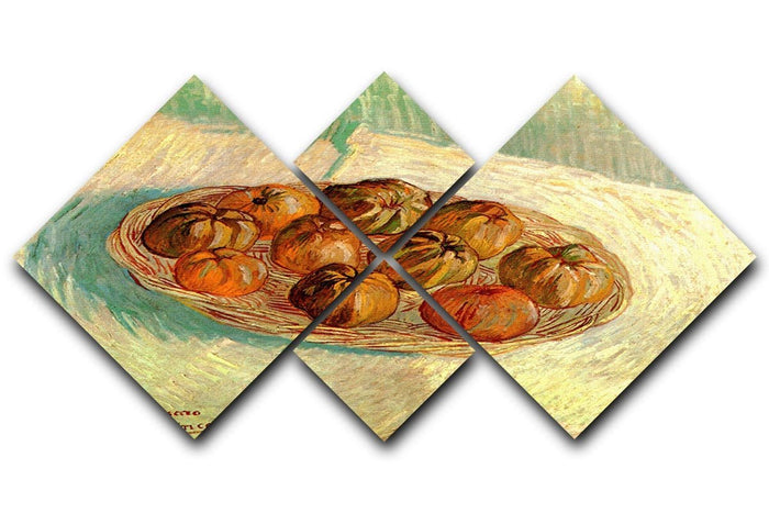 Still Life with Basket of Apples to Lucien Pissarro by Van Gogh 4 Square Multi Panel Canvas