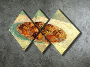 Still Life with Basket of Apples to Lucien Pissarro by Van Gogh 4 Square Multi Panel Canvas - Canvas Art Rocks - 2
