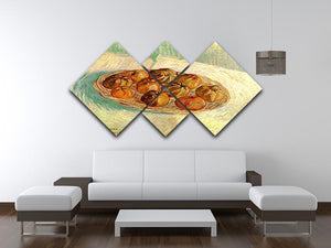 Still Life with Basket of Apples to Lucien Pissarro by Van Gogh 4 Square Multi Panel Canvas - Canvas Art Rocks - 3