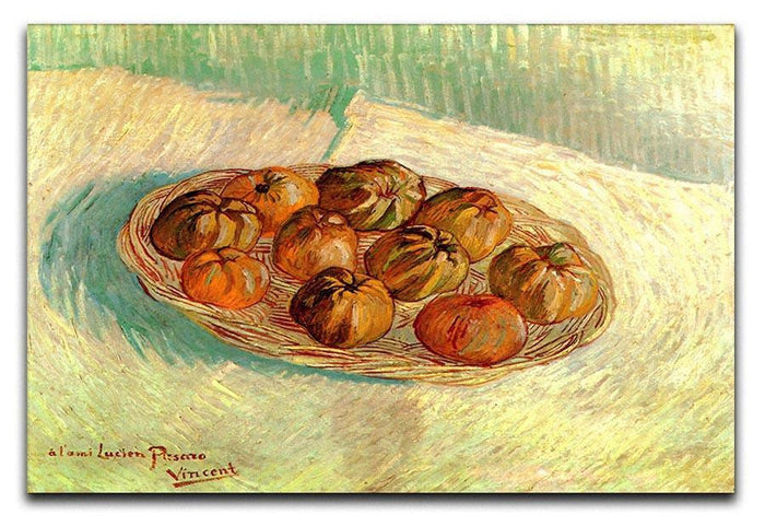 Still Life with Basket of Apples to Lucien Pissarro by Van Gogh Canvas Print or Poster