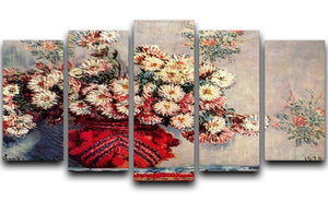 Still Life with Chrysanthemums by Monet 5 Split Panel Canvas  - Canvas Art Rocks - 1
