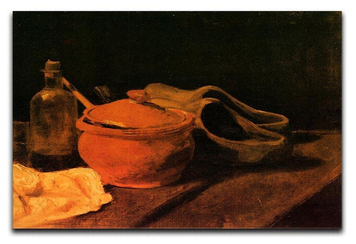 Still Life with Earthenware Bottle and Clogs by Van Gogh Canvas Print or Poster