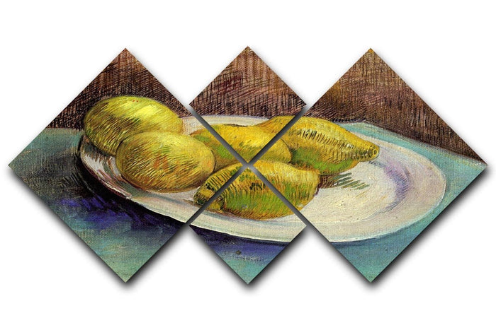 Still Life with Lemons on a Plate by Van Gogh 4 Square Multi Panel Canvas