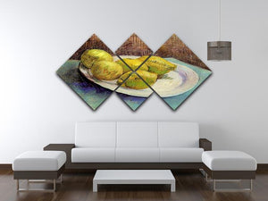 Still Life with Lemons on a Plate by Van Gogh 4 Square Multi Panel Canvas - Canvas Art Rocks - 3