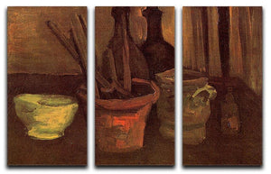 Still Life with Paintbrushes in a Pot by Van Gogh 3 Split Panel Canvas Print - Canvas Art Rocks - 4