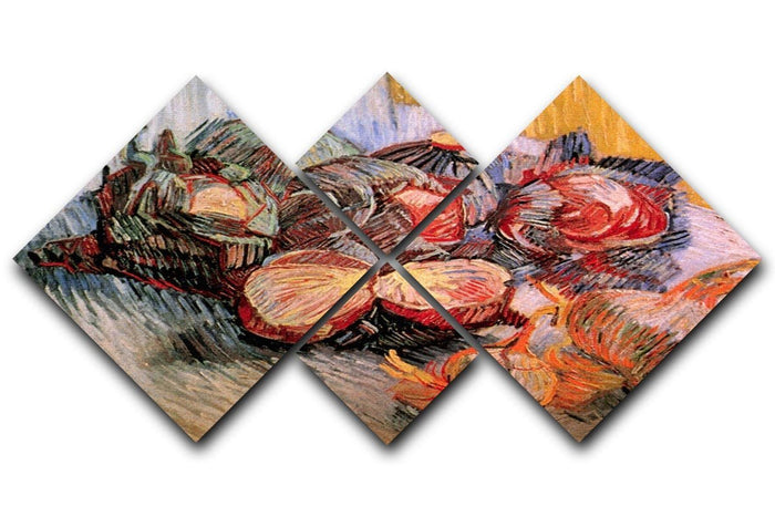 Still Life with Red Cabbages and Onions by Van Gogh 4 Square Multi Panel Canvas
