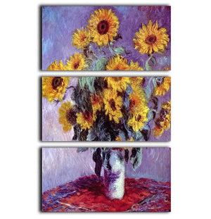 Still Life with Sunflowers by Monet 3 Split Panel Canvas Print - Canvas Art Rocks - 1