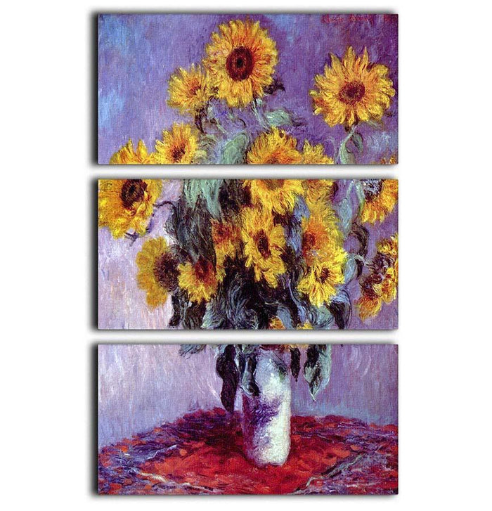 Still Life with Sunflowers by Monet 3 Split Panel Canvas Print