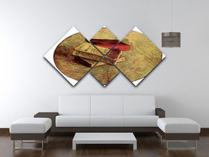 Still Life with Three Books by Van Gogh 4 Square Multi Panel Canvas - Canvas Art Rocks - 3