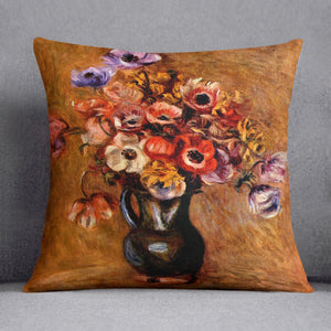 Still life with anemones by Renoir Throw Pillow