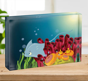 Sting ray hiding between water plants Acrylic Block - Canvas Art Rocks - 2