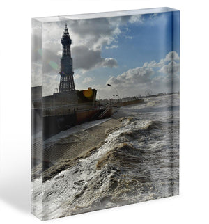 Stormy Blackpool Acrylic Block - Canvas Art Rocks - 1