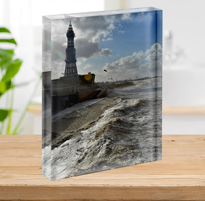 Stormy Blackpool Acrylic Block - Canvas Art Rocks - 2