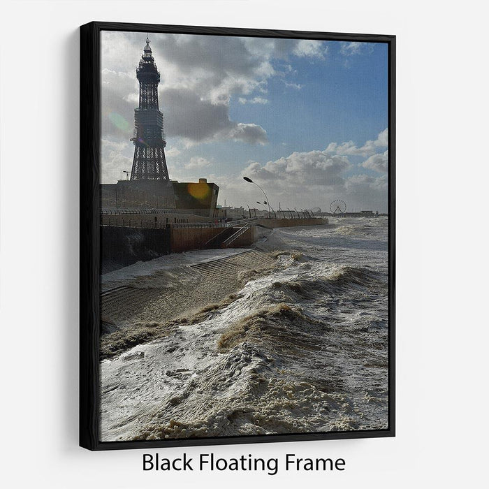 Stormy Blackpool Floating Frame Canvas