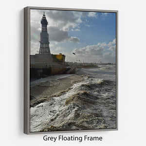 Stormy Blackpool Floating Frame Canvas - Canvas Art Rocks - 3
