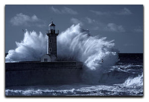 Stormy waves over old lighthouse Canvas Print or Poster  - Canvas Art Rocks - 1
