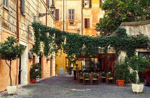 Street in Trastevere in Rome Wall Mural Wallpaper - Canvas Art Rocks - 1
