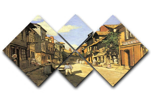 Street of Bavolle 2 by Monet 4 Square Multi Panel Canvas  - Canvas Art Rocks - 1