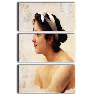 Study Of A Woman For Offering To Love By Bouguereau 3 Split Panel Canvas Print - Canvas Art Rocks - 1