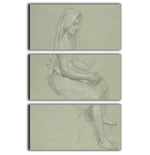 Study of a Seated Veiled Female Figure 19th Century By Bouguereau 3 Split Panel Canvas Print - Canvas Art Rocks - 1