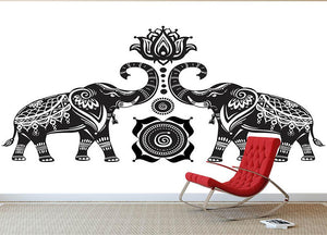 Stylized decorated elephants and lotus flower Wall Mural Wallpaper - Canvas Art Rocks - 2