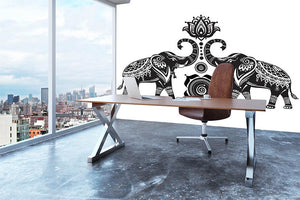Stylized decorated elephants and lotus flower Wall Mural Wallpaper - Canvas Art Rocks - 3