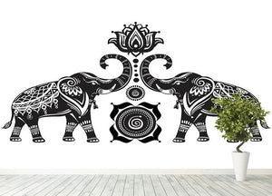 Stylized decorated elephants and lotus flower Wall Mural Wallpaper - Canvas Art Rocks - 4