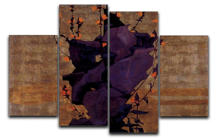 Stylized floral before decorative background style of life by Egon Schiele 4 Split Panel Canvas