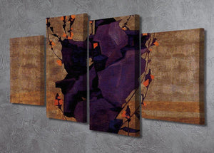 Stylized floral before decorative background style of life by Egon Schiele 4 Split Panel Canvas - Canvas Art Rocks - 2