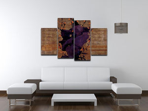 Stylized floral before decorative background style of life by Egon Schiele 4 Split Panel Canvas - Canvas Art Rocks - 3