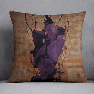 Stylized floral before decorative background style of life by Egon Schiele Cushion