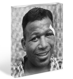 Sugar Ray Robinson Boxer Acrylic Block - Canvas Art Rocks - 1