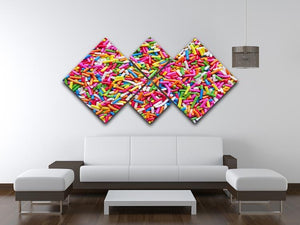 Sugar sprinkle dots 4 Square Multi Panel Canvas  - Canvas Art Rocks - 3