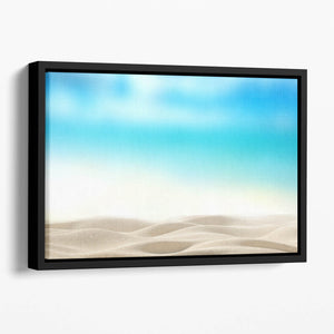 Summer exotic sandy beach with blur sea Floating Framed Canvas