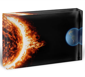 Sun earth space universe solar storm Acrylic Block - Canvas Art Rocks - 1