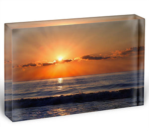Sun rays over the bulgarian Black sea Acrylic Block - Canvas Art Rocks - 1