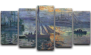 Sunrise at Sea by Monet 5 Split Panel Canvas  - Canvas Art Rocks - 1