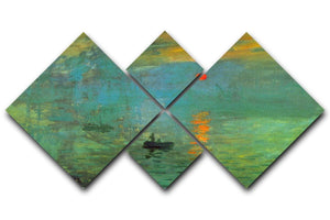 Sunrise by Monet 4 Square Multi Panel Canvas  - Canvas Art Rocks - 1