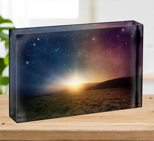 Sunrise with stars and galaxy in night Acrylic Block - Canvas Art Rocks - 2