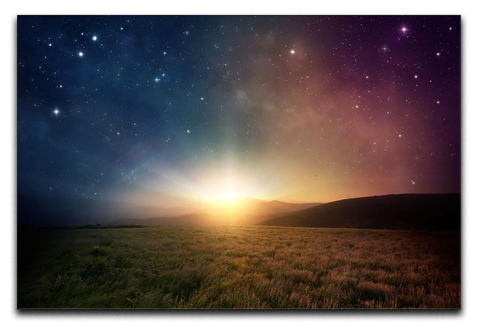 Sunrise with stars and galaxy in night Canvas Print or Poster