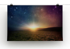Sunrise with stars and galaxy in night Canvas Print or Poster - Canvas Art Rocks - 2